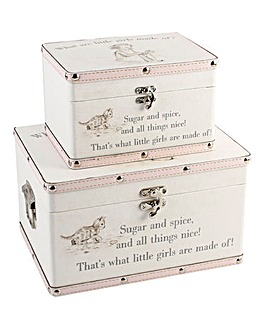 Set 2 Little Girls Keepsake Trunks