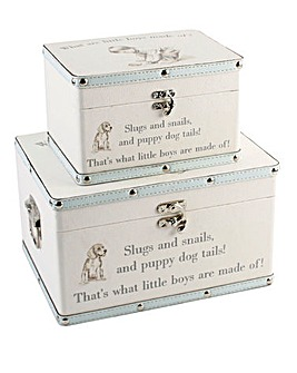 Set 2 Little Boys Keepsake Trunks