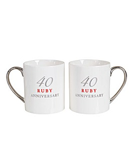 Set 2 Bone China Anniversary Mugs