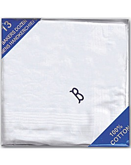 Pack 13 Mens Initial Handkerchiefs