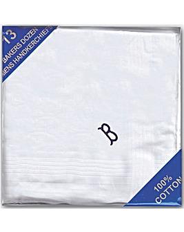 Pack 13 Mens Initial Handkerchiefs