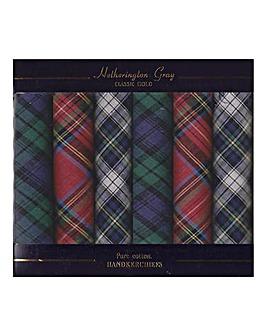 Pack 6 Tartan Handkerchiefs