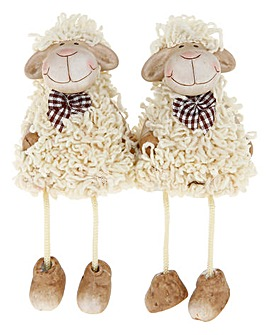 Set 2 Shelf Dangly Sheep