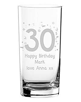 Personalised Birthday Hi Ball Glass