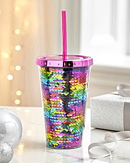 Rainbow Sequin Drinking Cup with Straw