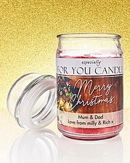 Personalised Christmas Photo Jar Candle