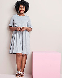 Frill Stretch Swing Dress with Frill Detail