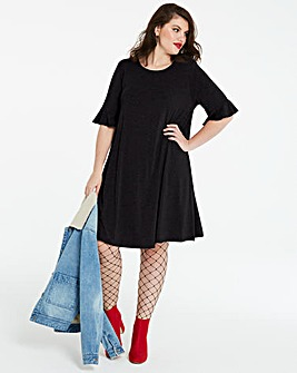 Frill Stretch Swing Dress