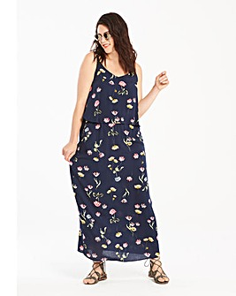 Navy Floral Print Layer Maxi Dress