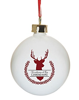 Personalised Family Name Stag Bauble