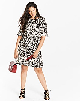 Animal Print Frill Jersey Swing Dress