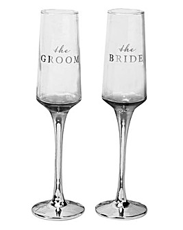 Amore Set of 2 Bride and Groom Flutes