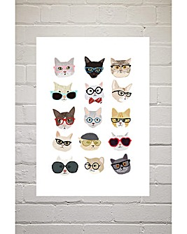 East End Prints Cats in Glasses by Hanna Melin Art Print