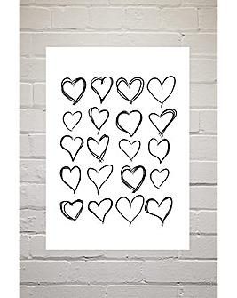 East End Prints Love Hearts by Honeymoon Hotel Art Print