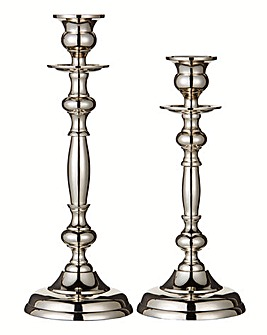 Set of 2 Ornate Metal Candle Sticks