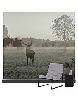 Art for the Home Stag in the Woods Multicolour Landscape Mural