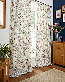Dragonfly Pencil Pleat Lined Curtains