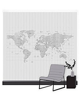 Art for the Home Map of the World Grey Mural