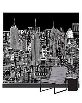 Art for the Home In the City Night Cityscape Mural