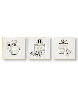 Art for the Home Pretty Perfume Bottle Set of 3 Printed Canvas