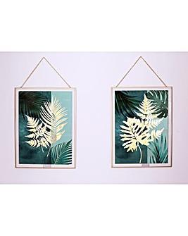 Arthouse Golden Leaves Framed Print Set of 2