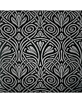 Arthouse Decadent Damask Black & Silver Wallpaper