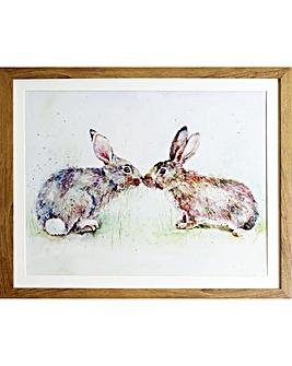 Arthouse Kissing Rabbits Framed Print
