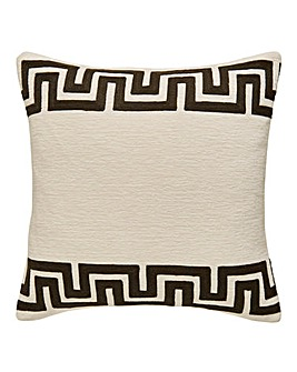 Greek Key Border Chenille Cushion