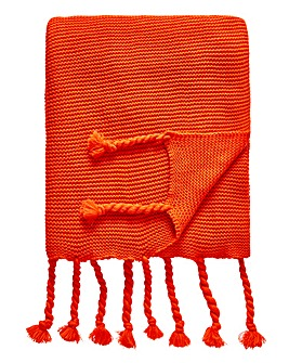 Chunky Knit Tassel Throw