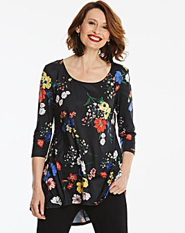 Longer Length Floral Dip Back Tunic