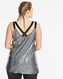 Simply Be Woven Strap Mirror Ball Cami