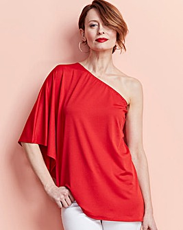 Red One Shoulder Asymmetric Top