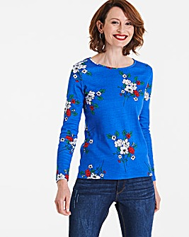 Blue Floral Value Cotton Long Sleeve Top