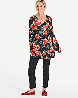 Longer Length Floral Bell Sleeve Tunic