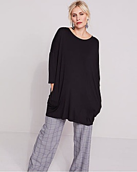 Black Longer Length Colourblock Tunic