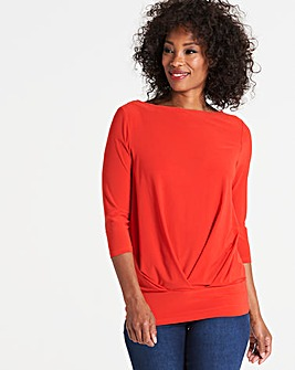 Red Pleat Front Hem Top