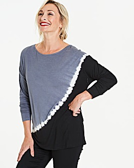 Grey/ Black Diagonal Tie Dye Top