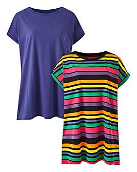 Stripe/Blue Pack of 2 Boyfriend T-Shirts