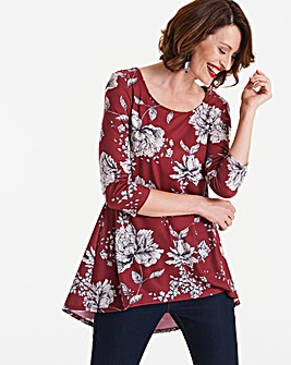 Longer Length Berry Print Dip Back Tunic
