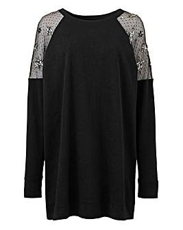 Black Mesh Star Sweatshirt Tunic