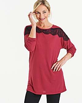 Berry/ Black Lace Trim Sleeve Top