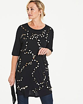 Black Large Sequin Top