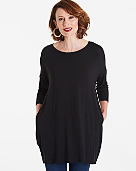 Black Longer Length Side Pocket Tunic