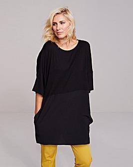 Black Longer Length Side Pocket Tunic