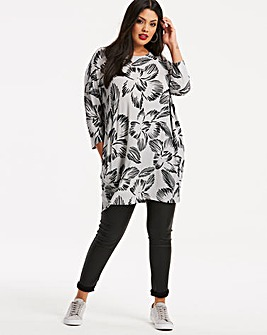 Grey/Black Long Length Side Pocket Tunic