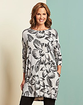 Grey/Black Print Side Pocket Tunic