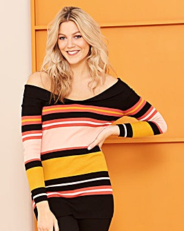 Multi Stripe Sweetheart Neckline Jumper