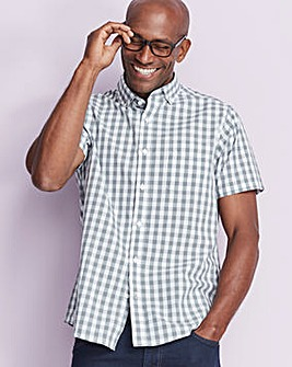 W&B Grey Check Short Sleeve Shirt R