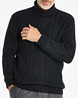 W&B Navy Roll Neck Jumper R