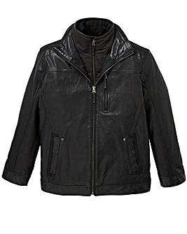 W&B Black Leather Harrington R
